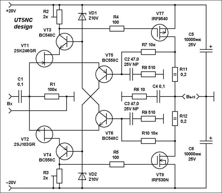 транзисторах схема полевых мощности на усилитель